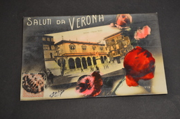 Carte Postale 1910 Saluti Da Verona Vérone Piazza Dante Colorisée - Autres