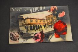Carte Postale 1910 Saluti Da Verona Vérone Piazza Dante Colorisée - Altri