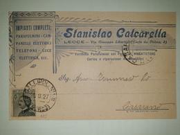 CP347-Cartolina Pubblicitaria Stanislao Calcarella - Parafulmini, Campanelli Elettrici, Telefoni - Lecce - 1900-44 Victor Emmanuel III