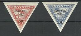 FAUX LETTLAND Latvia 1933 Michel 223 - 224 FAKE Fälschungen MNH - Letland
