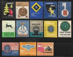 1960s POLAND Set Of 13 Matchbox Labels - Boites D'allumettes - Etiquettes