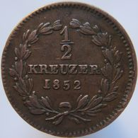 Germany BADEN 1/2 Kreuzer 1852 VF - Small Coins & Other Subdivisions