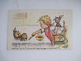 CPA JACQUELINE FAIZANT SIMON Descends De Là!.. Tu Ne Sais Pas Manger Proprement !.. 1949  TBE - Faizant