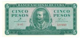 Cuba 5 Pesos 1961, P-95a, UNC. RARE. - Cuba