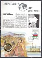 Muntbrief Van Azarbaycan Met Stempel Azarbaycan Baki Poctamti - Azerbaïdjan