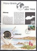 Muntbrief Van Alderney Met Stempel Guernse Alderney 23No88 - Alderney