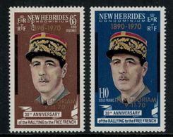 New Hebrides // 1960-1980 // 1970 // A La Mémoire Du Général De Gaulle Timbres Neufs** MNH No. Y&T 306-307 - Légende Anglaise