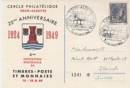 Luxembourg Cachet Illustré Esch-Alzette Sur Carte Pour La Suisse 1949 - Brieven En Documenten