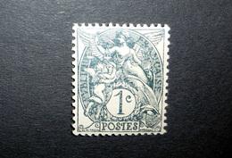 FRANCE 1900 N°107AIA ** (BLANC. 1C ARDOISE. TYPE IA) - 1900-29 Blanc