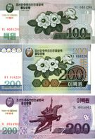 Coree Du Nord, 3 Billets Neufs** Unc. 2005/2008 - Korea, North