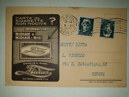 CP376-Cartolina Pubblicitaria Midian - Carta Da Sigarette Non Nociva - Napoli - 1900-44 Victor Emmanuel III