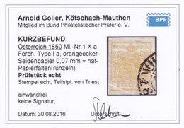 Österreich Nr. 1 H Ia Orangeocker Seidenpapier, Natürliche Papierfalten, Gest., Befund Goller !! - 1850-1918 Imperium