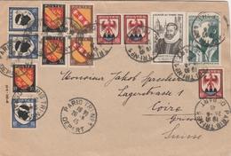 France Lettre Paris Tri N°1 Pour La Suisse 1946 - 1921-1960: Modern Period
