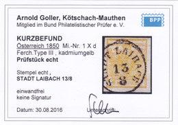 Österreich Nr. 1 H III Kadmiumgelb, Gest., Befund Goller !!! - Gebruikt