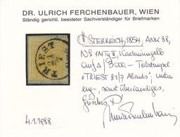 Österreich Nr. 1 M III Kadmiumgelb, Briefstück, Befund Ferchenbauer !!! - Gebruikt