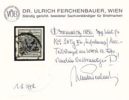 Österreich Nr. 2 H IIIa Tiefschwarz, Gest., Befund Ferchenbauer !!! - Gebruikt