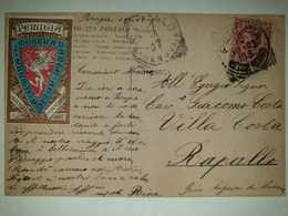 CP392-Cartolina Panorama San Domenico E San Pietro - Perugia + Erinnofilo - 1900-44 Victor Emmanuel III