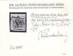 Österreich Nr. 2 M IIIb Tiefschwarz, Gest., Befund Ferchenbauer !!! - Gebruikt