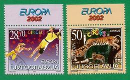 Jugoslawien  2002  Mi.Nr. 3076 / 3077 , EUROPA CEPT Zirkus - Gestempelt / Fine Used / (o) - 2002