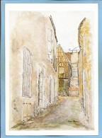 """Clamecy (58) Une Rue (aquarelle D'Anne Marie) 2 Scans 19-07-1982 Flamme """"Propreté Partout Santé Pour Tous"""" Chat - Clamecy"""