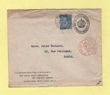 New South Wales Gouvernement Immigration Dept - Lettre A Destination De France - 18 Aout 1919 - 1902-1951 (Rois)