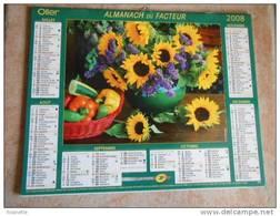 Almanach La Poste- 2008 Panier Osier, Arrosoir, Fleurs: Tournesols ,mimosa... .(voir Descriptif Et Photos) - Grand Format : 2001-...