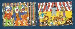 Dänemark-Färöer  2002   Mi.Nr. 423 / 424 , EUROPA CEPT - Zirkus - Gestempelt / Fine Used / (o) - 2002