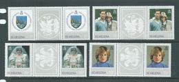 St Helena 1982 Princess Diana 21st Birthday Set 4 X2 As Gutter Pairs MNH - Saint Helena Island