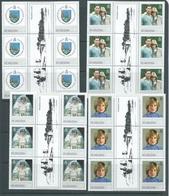 St Helena 1982 Princess Diana 21st Birthday Set 4 X6 As Gutter Blocks With Rhuddlan Castle MNH - Saint Helena Island