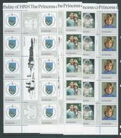 St Helena 1982 Princess Diana 21st Birthday Set 4 X10 As Gutter Blocks Of 10 With Margins MNH - Saint Helena Island