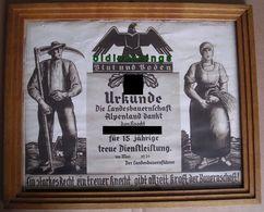 Urkunde Blut Und Boden Landesbauernschaft Alpenland Erich Torggler 1939 - 1939-45