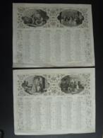 ALMANACH  1852 CALENDRIER 2 SEMESTRIELS Lithographie Allégorie  A La Ferme à La Chasse  Arabesque  Impr Dubois -Trianon - Calendars