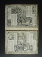 2 ALMANACH  2  CALENDRIER 2 SEMESTRIELS 1848 + 1 ANNUEL 1848  Lithographie  Allegories Diverses EDIT BILLARD  S 4 P 4 - Calendriers