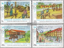 Laos 1034-1037 (complete Issue) Fine Used / Cancelled 1987 Menschenwürdiges Home - Laos