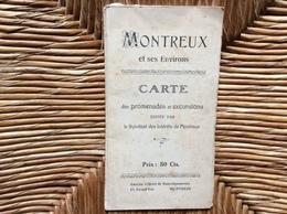 CARTE TOPOGRAPHIQUE Carte D'Excursions De Montreux Et Ses Environs  NOVEMBRE 1911 - Cartes Topographiques