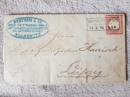 Deutsches Reich Brief Brustschild Dresden Blasewitz Nach Leipzig 1874 - Deutschland