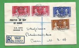 Coronation 1937 Registered Cover & FDC Bermuda - Otros