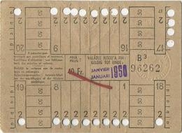 OLD TRAM Ticket 1950 Brussel Bruxelles:Tramways -tramwegen De Classe:carte De 20 Voyages-reizen ( See Scans) 12 X 9 Cm - Titres De Transport
