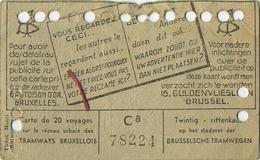 OLD TRAM Ticket 1947 Brussel Bruxelles:Tramways -tramwegen De Classe:carte De 20 Voyages-reizen ( See Scans) 11.5 X 7 Cm - Transportation Tickets