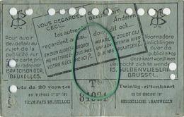 OLD TRAM Ticket 1948 Brussel Bruxelles:Tramways -tramwegen De Classe:carte De 20 Voyages-reizen ( See Scans) 11.5 X 7 Cm - Non Classés