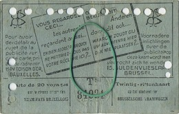 OLD TRAM Ticket 1948 Brussel Bruxelles:Tramways -tramwegen De Classe:carte De 20 Voyages-reizen ( See Scans) 11.5 X 7 Cm - Titres De Transport