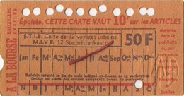 OLD TRAM Ticket  Brussel Bruxelles:Tramways -tramwegen De Classe:carte De 12 Voyages-reizen ( See Scans) 11.5 X 7 Cm - Titres De Transport
