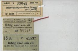 3  OLD TRAM Ticket   :Tramways -tramwegen NEDERLAND   ( See Scans) - Titres De Transport