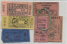6  OLD TRAM Ticket   :Tramways -tramwegen PORTUGAL ( See Scans) - Titres De Transport
