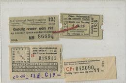 4 OLD TRAM Ticket :Tramways -tramwegen NEDERLAND ( See Scans) - Non Classés