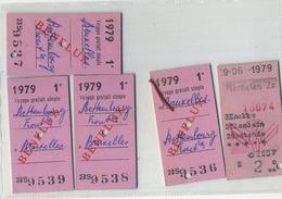 5  OLD TRAM - Train  Ticket :Tramways -tramwegen BRUXELLES  ( See Scans) - Titres De Transport