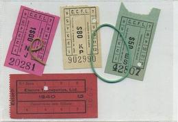 4 OLD TRAM Ticket :Tramways -tramwegen PORTUGAL  (  See Scan )  Verso Blank - Titres De Transport