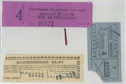 3 OLD TRAM Ticket :Tramways -tramwegen GENT-LEDEBERG-VERVIERS  (  See Scan )  Verso Blank - Transportation Tickets