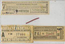 3 OLD TRAM Ticket :Tramways -tramwegen ANTWERPEN-LEDEBERG-BRUSSEL (  See Scan )  Verso Blank - Titres De Transport