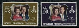Nouvelles Hébrides // 1960-1980 // 1972 // Noce D'argent Des Souverains Britanniques Timbres Neufs** MNH No. Y&T 354-355 - Légende Française